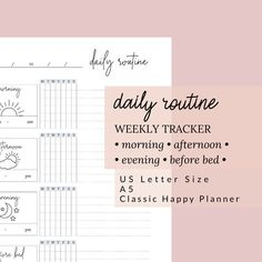 Daily Routine Tracker | Bullet Journal or Planner Insert | Morning, Afternoon, Evening, Before Bed | US Letter, A5, Happy Planner, Printable by DesignerJaim on Etsy Goals Planner, Blog Planner, Planner Pages, Happy Planner, Printing And Binding, Business Planner, Planner Inserts, Letter Size, Routine