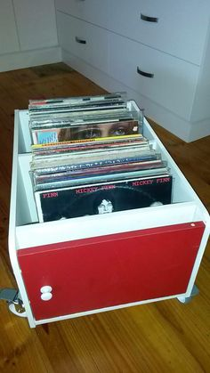 Record storage from old cupboard
