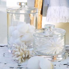 Buy Bathroom > Bathroom Accessories > Glass Storage Jars from The White Company Bahtroom ideas 2019 - Home Decor Glass Storage Jars, Jar Storage, Bathroom Storage, Bathroom Interior, Glass Jars, Bathroom Plumbing, Basement Bathroom, Bathroom Remodeling, Storage Boxes