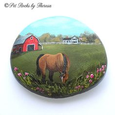 Hand Painted Rock Quarter Horse Red Barn Farm Painting Country Painting Unique One of a Kind Direct from Artist Beach Stone by PetRocksbyTheresa on Etsy Pebble Painting, Pebble Art, Stone Painting, Diy Painting, Rock Painting, Painted Pavers, Hand Painted Rocks, Painted Stones, Farm Paintings