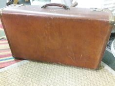 Vintage retro hipster leather distressed luggage suitcase by SalvageAngelByTheSea on Etsy