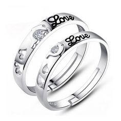 Engraved Hearts Love Promise Rings for Him and Her
