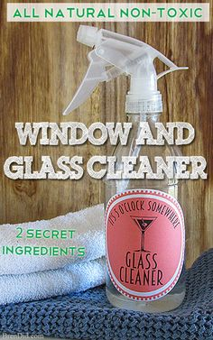 Must try! It's 5 O'Clock Somewhere Window and Glass Cleaner. All natural, non-toxic window cleaner for $0.93 (21 ounces). Contains two secret ingredients: vodka and cornstarch. BrenDid.com Free Printable Label