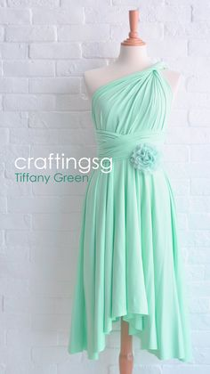 Bridesmaid Dress Infinity Dress Tiffany Green Knee Length Wrap Convertible Dress Wedding Dress on Etsy, $35.00