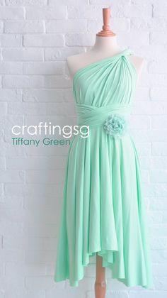 Bridesmaid Dress Infinity Dress Tiffany Green Knee Length Wrap Convertible Dress Wedding Dress on Etsy, $35.00