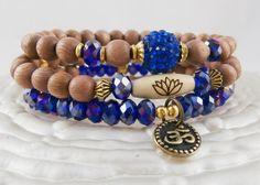 Set of 3 Yoga bracelets Om Lotus bead Swarovski by LifeForceEnergy, $29.00