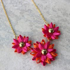 Hot Pink Necklace Fuchsia Necklace with Orange Accents Hot Pink and Orange Necklace Handmade Statement Necklaces Flower Necklaces