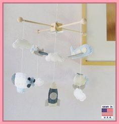 Mobile de bébé garçon garçon Mobile avion ballon par hingmade