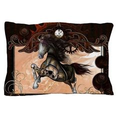 Wonderful steampunk horse, clocks and gears Pillow by nicky - CafePress