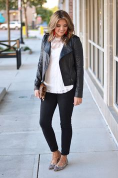 moto jacket lace outfit - black leather moto jacket with white lace top and black jeans | www.bylaurenm.com