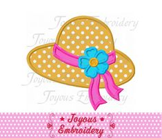 Instant Download Beach Hat Applique Machine Embroidery Design NO:2143