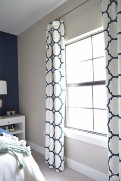 ZDesign At Home: Well Appointed Curtains (Kravet Riad Windsor Smith fabric in navy)