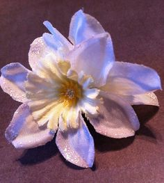 Glittered Double White Daffodil Flower Hair by RaineflowersShop, $5.00