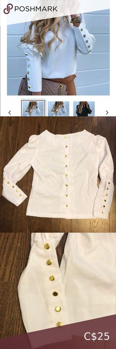 I just added this listing on Poshmark: White gold button up blouse. #shopmycloset #poshmark #fashion #shopping #style #forsale #Tops Cute Blouses, Model Pictures, Button Up, Tights, Dress Up, White Gold, Super Cute, Brand New, Sleeves