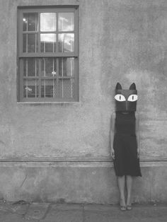 surreal and whimsical cat portrit photography , I would love to make one and just stand silently on a street and see everyones reactions Cat Mask eyes Bizarre, Weird And Wonderful, Cat Art, Black And White Photography, Vintage Photos, Vintage Halloween Photos, Art Photography, Clothing Photography, Street Art