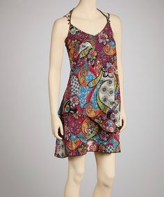 Take a look at this Navy & Pink Paisley Sleeveless Dress by Prive by Allen Schwartz on #zulily today!