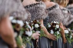 FivePine Lodge Wedding. Winter rustic bouquet. Photo By Jeanne Phinney Photography