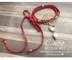 Red choker with crystal heart