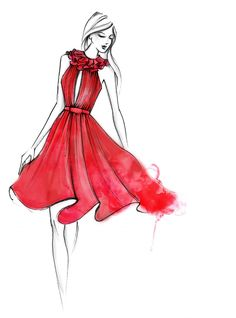 'Tis the colour of the season – both fashion and festive. Swirls of scarlet silk for the holidays. Sketch of the Matthew Williamson Red Ruffle Neck Silk Dress AW14. #illustration