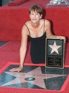 Historic Photograph of Jamie Lee Curtis At Her Hollywood Walk Of Fame Ceremony.