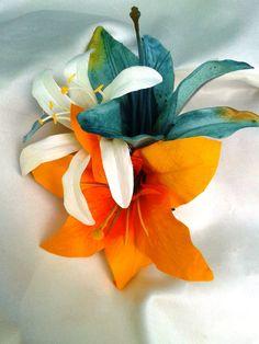 BRIDAL HAIR CLIP - Hawaiian Lilies, Tropical Har Clip, Beach Wedding, Fascinator, Flower Headpiece, Claw, Wedding Hair Accessory, Exotic on Etsy, $22.99