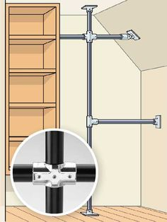 To overcome an odd closet configuration or sketchy walls, build a scaffold using commercial Speed-Rail fittings (hollaender.com) and closet rods. We show you how. | Illustration: Eric Larsen | thisoldhouse.com