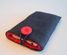 iPhone sleeve, iPhone case, iPhone cozy, padded iPhone cover, cell phone cover, iPod cover in grey/black denim
