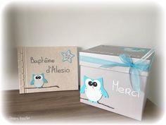 Livre d'or bapême Hibou bleu thème étoiles : Cadeau de remerciement par…