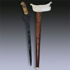"""Keris Sumatra  Acquired in 1995 this beautiful Sumatran Keris has a finely carved deer's horn hilt and a thin straight blade dating back the early 20th century with a pamor """"Lawe Satukel"""" or """"Benang Saukel"""", the sheath is in wood and ivory, the mendak in bras."""