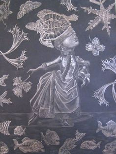 Lori Field, Dark Ages - silverpoint, black gesso