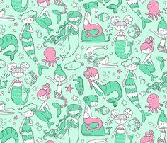 Mermaid Fabric - Watergirls (Mint/Pink) Small By Leanne Hatch- Mermaids Mint Nursery Cotton Fabric By The Metre by Spoonflower Double Gauze Fabric, Cotton Twill Fabric, Fleece Fabric, Satin Fabric, Custom Fabric, Cotton Canvas, Baby Fabric, Mermaid Fabric, Mint Nursery