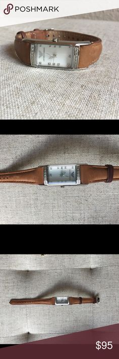 Armani leather wristwatch with pavé diamonds Beautiful Emporio Armani bright brown leather wristwatch with mother of pearl face and pavé diamonds. Great condition, needs battery. Emporio Armani Accessories Watches