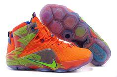 Cheap Nike LeBron XII EP Orange Green Shoes on sale