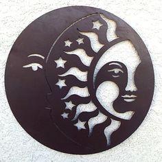 pagan home decor Outdoor Metal Wall Art, Metal Garden Art, 3d Wall Art, Mural Art, Sun Silhouette, Sun Moon Stars, Scrap Metal Art, Moon Art, Metal Walls