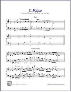 C Major Scale and Arpeggio  | Free Piano Sheet Music (Digital Print) - Visit MakingMusicFun.net for more free and premium sheet music, music lesson plans, and great composer resources.