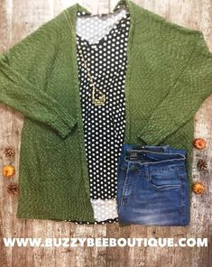 Beautiful Olive Popcorn Cardigan in Plus sizes paired with our beautiful baby suede polkadot tee denim and out Lee necklace. Plus Size Fall Outfit, Plus Size Casual, Trendy Plus Size, Plus Size Outfits, Plus Size Peplum, Plus Size Bikini, Plus Size Skirts, Plus Size Tips, Plus Size Model