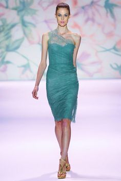 Would love to own a dress from Monique Lhuillier...I love everything about this dress- the color the lace so pretty!
