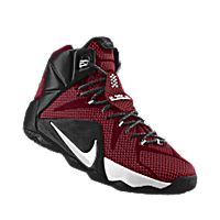 I designed the team red Nike LeBron 12 iD men's basketball shoe with black and white trim.