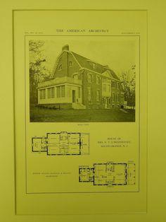 Rear View, House of Mrs. N. V. L'Hommedieu, South Orange, NJ, 1914, Lithograph. Dillon, McLellan & Beadel.