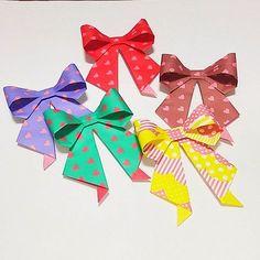 Lovely Ribbon 💕 #折り紙 #おりがみ #リボン #origami #ribbon #papercraft