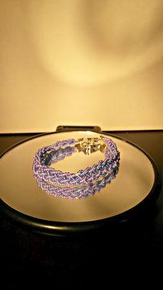 purple 6 strand braid kumihimo bracelet