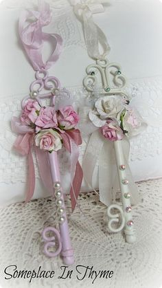 Shabby Key Ornaments-Christmas,ornaments,roses,pink,white,ribbon,gift,holiday,decoration,pearls,rhinestone,handmade,paper,