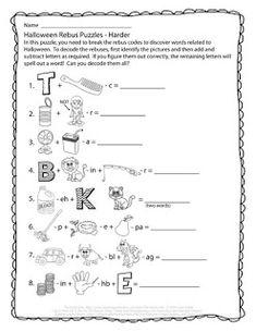 The Puzzle Den - Halloween Rebus Puzzles - Harder Halloween Puzzles, Halloween Worksheets, Halloween Words, Halloween Music, Halloween Activities, Word Riddles, Brain Teasers Riddles, Brain Teasers For Kids, Rebus Puzzles