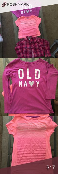 Old Navy~ Set of 3~ Sz 14~ Tops Youth Old Navy~ Set Of 3 Tops~ All Are Sz XL 14~ In Like New, Gently PreOwned Condition~ All were Barely Worn & Now Outgrown & They Need A New Home~ Great Back To School Tops**1 Long Sleeve TShirt w/ Old Navy Logo~ 1 Peach Colored TShirt w/ a Heart on it~ 1 Button Down, Plaid Shirt & it has Smaller Plaid Design Lining the Inside & Can Be Seen when Cuffs are Rolled Up, etc.~ All Really Cute Old Navy Shirts & Tops Tees - Long Sleeve