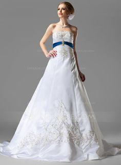 Wedding Dresses - $236.99 - A-Line/Princess Strapless Chapel Train Satin Wedding Dress With Embroidered Sash Beading Sequins (002004585) http://jjshouse.com/A-Line-Princess-Strapless-Chapel-Train-Satin-Wedding-Dress-With-Embroidered-Sash-Beading-Sequins-002004585-g4585