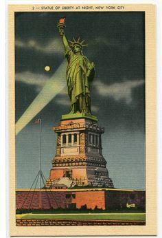 Statue of Liberty at Night New York City NYC by ThePostcardDepot
