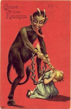 This is just horrible…. | 21 Vintage Postcards Of Krampus That Will Haunt Your Dreams