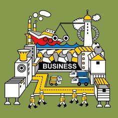 Robot factory illustration
