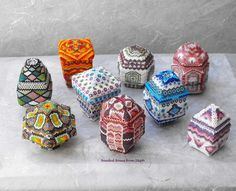 little beaded boxes by Steph | Big Tree Designs | see also Polish Pottery patterns