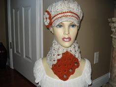 Classy Adult Ivory Pumpkin Newsboy Cloche Hat by Crochet Newsboy Hat, Hooded Cowl, News Boy Hat, Cloche Hat, Cowls, Neck Warmer, Tweed, Scarves, Fashion Accessories